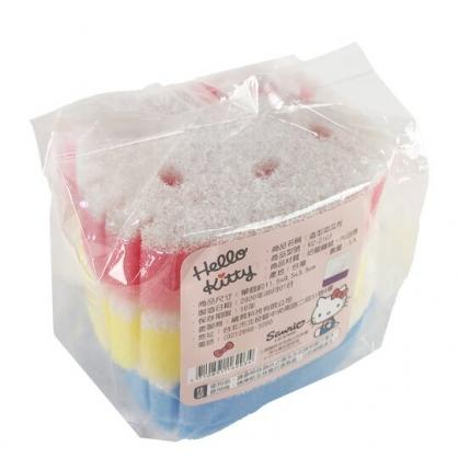 小禮堂 Hello Kitty 大臉造型清潔海棉組 鍋刷 菜瓜布 洗碗刷 (3入 藍黃紅)