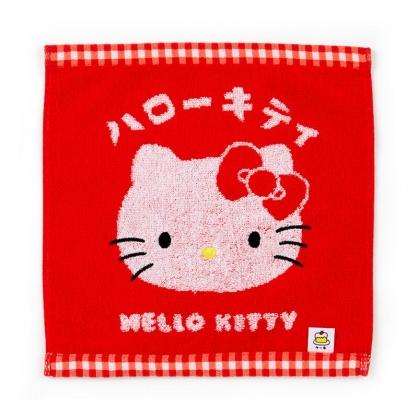 小禮堂 Hello Kitty  純棉無捻紗方巾 手帕 小毛巾 25x25cm (紅 漢語字典)