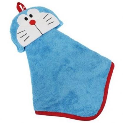 小禮堂 哆啦A夢 造型可掛式純棉割絨擦手巾 純棉毛巾 吸水毛巾 (藍 大臉)