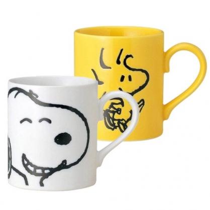 小禮堂 史努比 日製 馬克杯 陶瓷杯  咖啡杯 茶杯 對杯 情侶杯 金正陶器 260ml (2入 黃白 大臉)