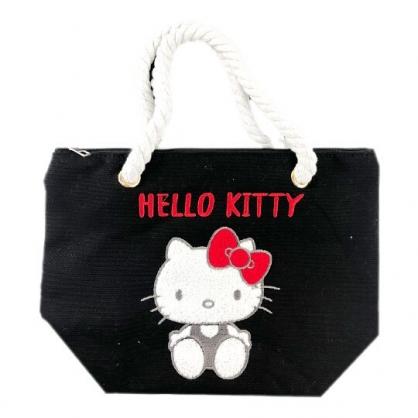 小禮堂 Hello Kitty 麻繩帆布手提袋 便當袋 帆布袋 (黑紅 布章)
