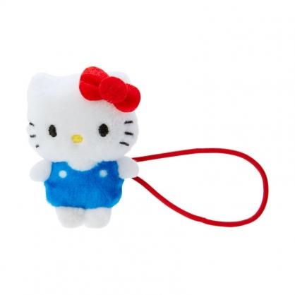 小禮堂 Hello Kitty 造型絨毛彈力髮圈 玩偶髮束 絨毛髮圈 (紅藍 全身)