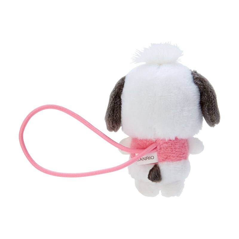 小禮堂 帕恰狗 造型絨毛彈力髮圈 玩偶髮束 絨毛髮圈 (粉白 全身)