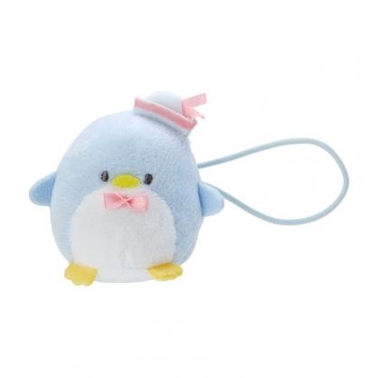 小禮堂 山姆企鵝 造型絨毛彈力髮圈 玩偶髮束 絨毛髮圈 (藍白 全身)