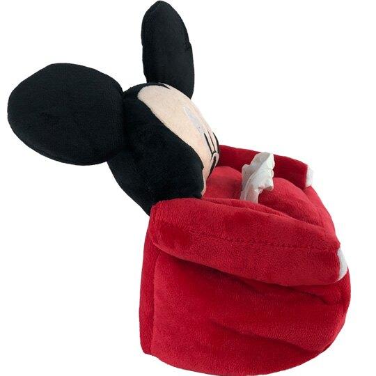 小禮堂 迪士尼 米奇 造型絨毛面紙套 面紙盒 紙巾套 衛生紙套 (紅黑 大臉沙發)
