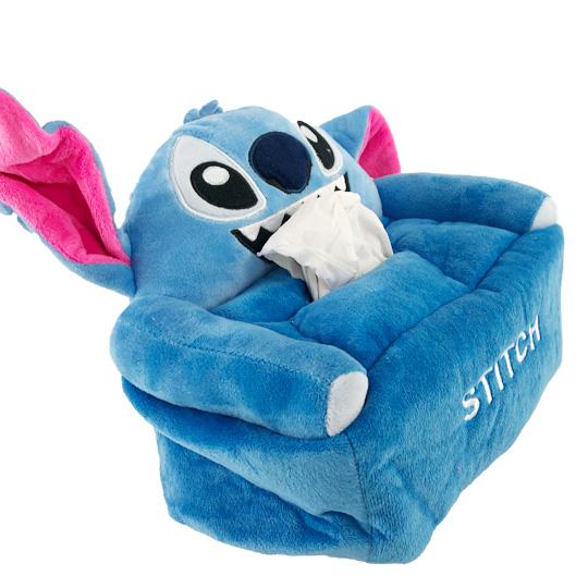 小禮堂 迪士尼 史迪奇 造型絨毛面紙套 面紙盒 紙巾套 衛生紙套 (藍 大臉沙發)