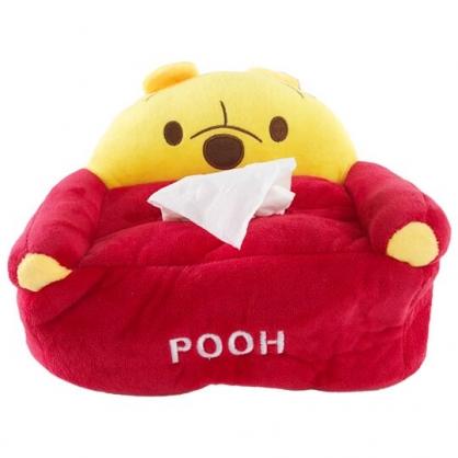 小禮堂 迪士尼 小熊維尼 造型絨毛面紙套 面紙盒 紙巾套 衛生紙套 (紅黃 大臉沙發)
