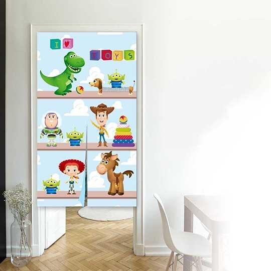 小禮堂 迪士尼 玩具總動員 棉麻長門簾 窗簾 遮光簾 85x150cm (藍 三層櫃)