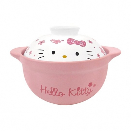小禮堂 Hello Kitty 高耐熱陶瓷鍋 湯鍋 燉鍋 砂鍋 耐熱鍋 1500ml (粉白 櫻花)