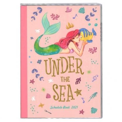 小禮堂 迪士尼 小美人魚 日製 2021 B6行事曆 手帳 年曆 記事本 (粉綠 親親)