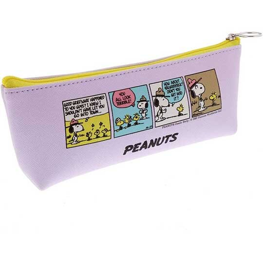 小禮堂 史努比 三角皮質拉鍊筆袋 皮質筆袋 鉛筆盒 鉛筆袋 (紫黃 插圖)