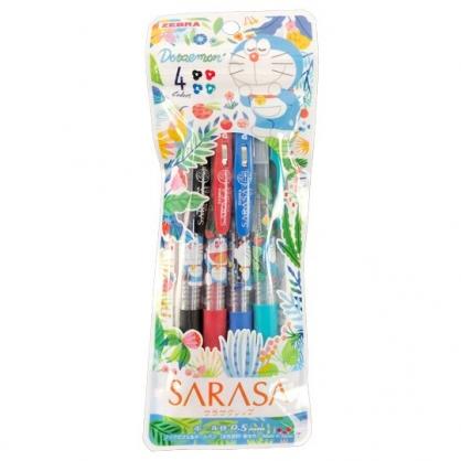 小禮堂 哆啦A夢 日製 原子筆組 水性筆 自動筆 0.5mm SARASA (4入 花草)