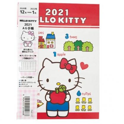 小禮堂 Hello Kitty 日製 2021 A6行事曆 手帳 年曆 記事本 (紅白 蘋果)