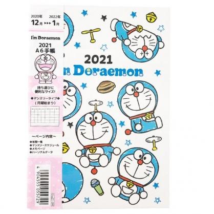 小禮堂 哆啦A夢 日製 2021 A6行事曆 手帳 年曆 記事本 (藍白 滿版)