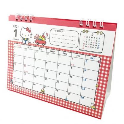 小禮堂 Hello Kitty 日製 2021 線圈式桌曆 行事曆 月曆 年曆 (紅白 玩具)
