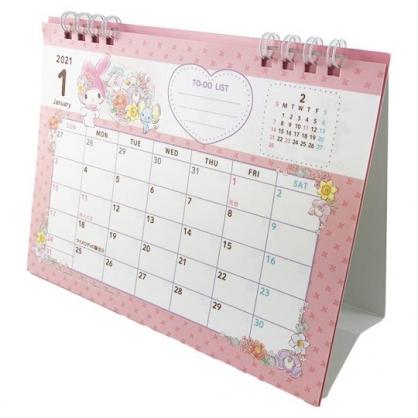 小禮堂 美樂蒂 日製 2021 線圈式桌曆 行事曆 月曆 年曆 (粉白 花朵)