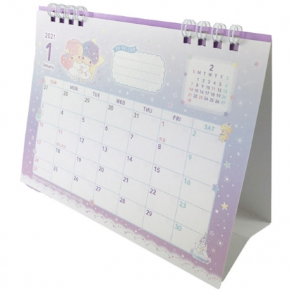 小禮堂 雙子星 日製 2021 線圈式桌曆 行事曆 月曆 年曆 (紫 星星)