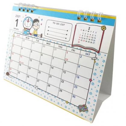 小禮堂 哆啦A夢 日製 2021 線圈式桌曆 行事曆 月曆 年曆 (藍白 插畫風)