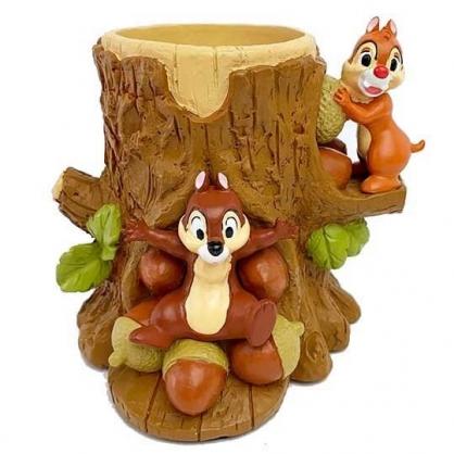 小禮堂 迪士尼 奇奇蒂蒂 造型陶瓷筆筒 圓形收納筒 刷具筒 文具盒 (棕 樹幹)