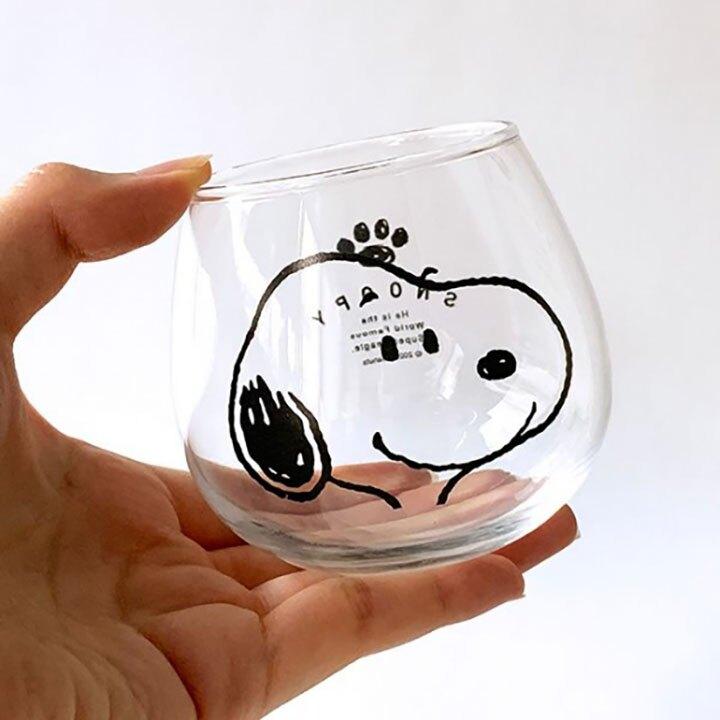 小禮堂 史努比 日製 無把透明玻璃杯 牛奶杯 飲料杯 水杯 320ml 金正陶器 (大臉)