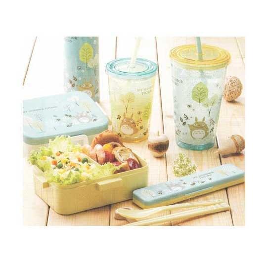 小禮堂 宮崎駿 龍貓 塑膠吸管杯 透明塑膠杯 飲料杯 隨手杯 500ml (綠黃 樹葉)