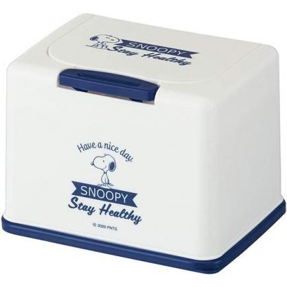 小禮堂 史努比 方形塑膠按壓彈蓋面紙盒 抽取式紙巾盒 濕巾盒 收納盒 (藍白 側站)