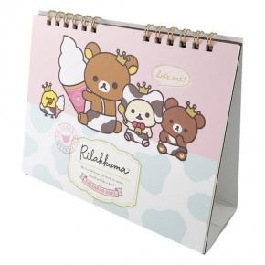 小禮堂 懶懶熊 日製 2021 線圈式桌曆 行事曆 月曆 年曆 (粉綠 乳牛裝)