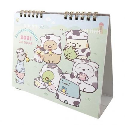 小禮堂 角落生物 日製 2021 線圈式桌曆 行事曆 月曆 年曆 (綠 乳牛裝)