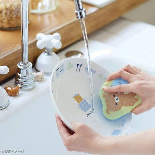 小禮堂 懶懶熊 牛奶熊 造型清潔海棉組 鍋刷 菜瓜布 洗碗刷 (2入 粉藍 杯子)