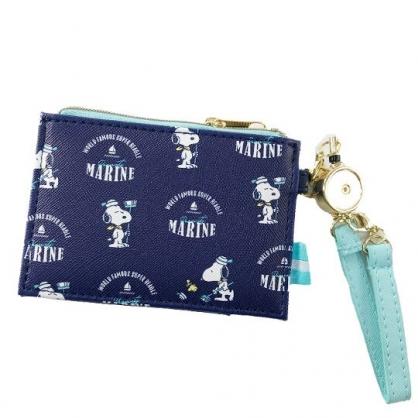 小禮堂 史努比 皮質伸縮票卡零錢包 票卡夾 證件夾 小物包 (深藍 水手帽)