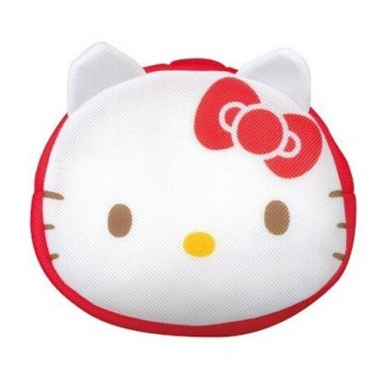 小禮堂 Hello Kitty 造型手提網狀洗衣袋 洗衣網袋 護洗袋 手提網袋 (紅白 大臉)