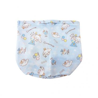 小禮堂 大耳狗 圓筒型手提網狀洗衣袋 洗衣網袋 護洗袋 手提網袋 (藍 滿版)