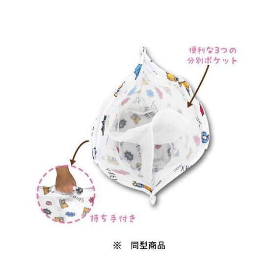小禮堂 角落生物 圓筒型手提網狀洗衣袋 洗衣網袋 護洗袋 手提網袋 (藍 滿版)