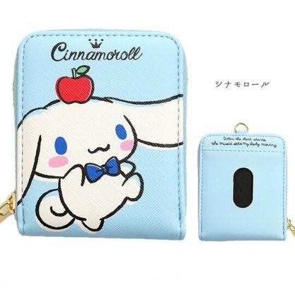小禮堂 大耳狗 直式皮質票卡零錢包 卡片收納包 小物包 (藍白 蘋果)