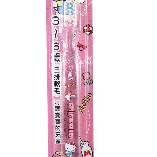 小禮堂 Hello Kitty 透明兒童牙刷 學童牙刷 3-6歲適用 (粉 物品)