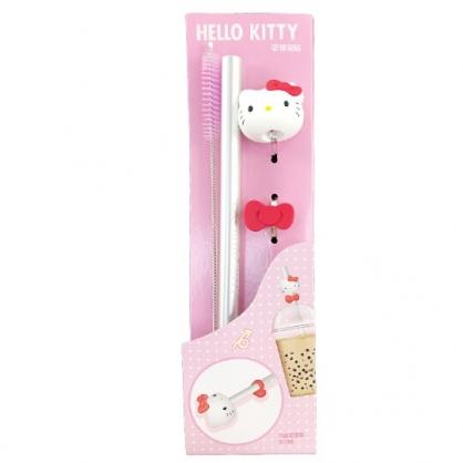 小禮堂 Hello Kitty 鋁製直吸管吸管架組 附收納袋 熱傳導吸管 環保吸管 直吸管 (紅銀 大臉)