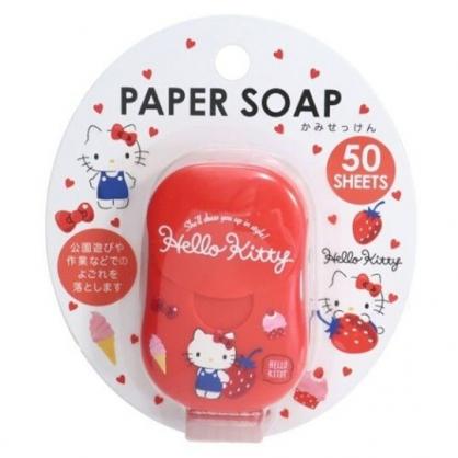 小禮堂 Hello Kitty 攜帶型盒裝紙肥皂 紙香皂 皂紙 草莓香 (50入 紅 草莓)