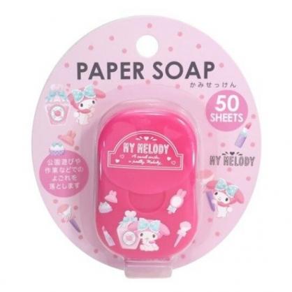 小禮堂 美樂蒂 攜帶型盒裝紙肥皂 紙香皂 皂紙 蜜桃香 (50入 粉 香水)