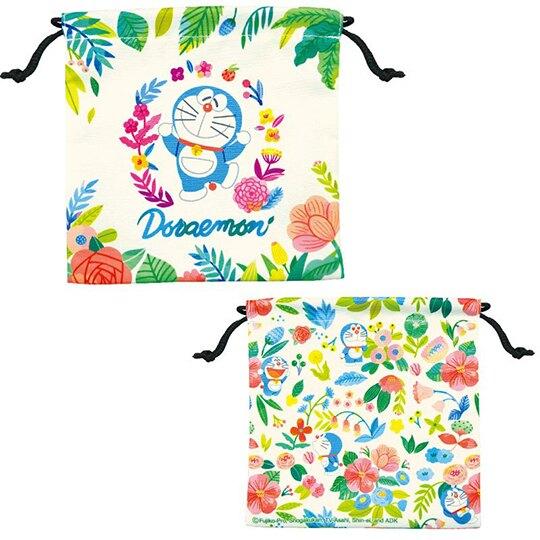 小禮堂 哆啦A夢 棉質束口袋組 旅行收納袋 小物收納袋 縮口袋 (2入 藍米 樹葉)