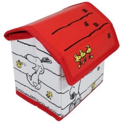 小禮堂 史努比 屋型皮質折疊掀蓋收納箱 迷你收納箱 小物收納箱 (紅白)