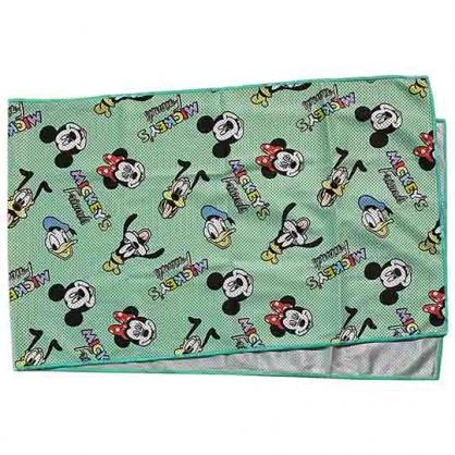小禮堂 迪士尼 涼感長毛巾 附夾鏈袋 冰巾 運動毛巾 涼感巾 30x100cm (綠 滿版)