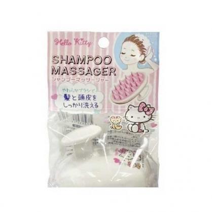 小禮堂 Hello Kitty 圓柄矽膠洗頭刷 按摩刷 頭皮刷 洗頭梳 銅板小物 (白紫 小熊)
