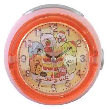 小禮堂 角落生物 圓形LED音樂鬧鐘 指針時鐘 桌鐘 小夜燈 (紅黃 草莓)