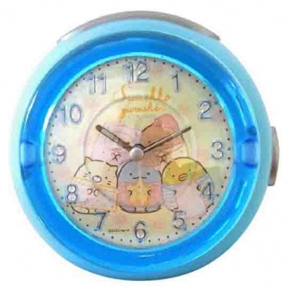 小禮堂 角落生物 圓形LED音樂鬧鐘 指針時鐘 桌鐘 小夜燈 (藍米 睡衣)