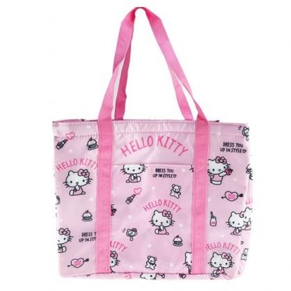 小禮堂 Hello Kitty 橫式尼龍束口保冷側背袋 環保購物袋 野餐袋 (粉 滿版)