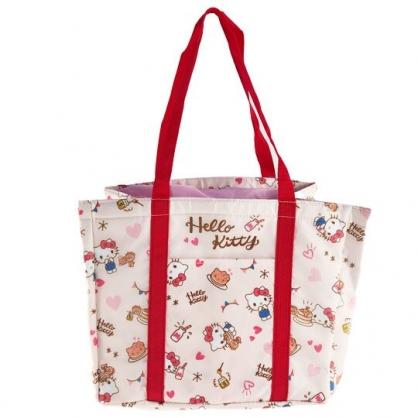 小禮堂 Hello Kitty 橫式尼龍束口保冷側背袋 環保購物袋 野餐袋 (米紅 滿版)