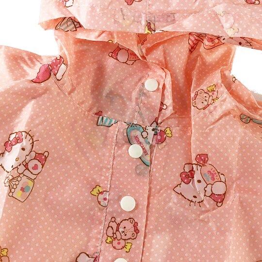 小禮堂 Hello Kitty 兒童披風式雨衣 附收納袋 斗篷雨衣 輕便雨衣 115-130cm (M 粉 滿版)