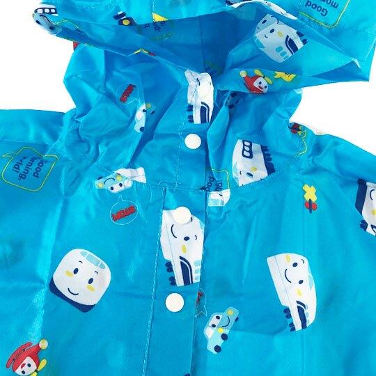 小禮堂 RB工程車 兒童披風式雨衣 附收納袋 斗篷雨衣 輕便雨衣 115-130cm (M 藍 滿版)