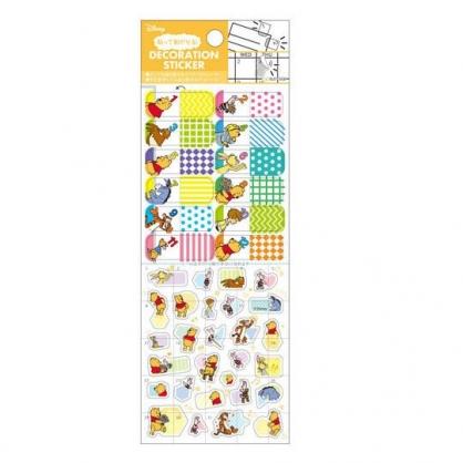 小禮堂 迪士尼 小熊維尼 日製 造型年曆貼紙 手帳貼紙 標記貼紙 透明貼紙 (黃 數字)