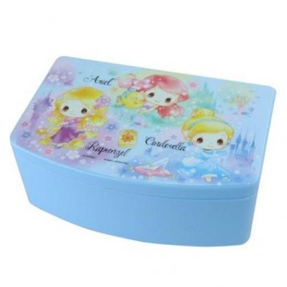 小禮堂 迪士尼 公主 方形塑膠附鏡抽屜盒 化妝鏡盒 飾品盒 小物收納盒 (藍 Q版)